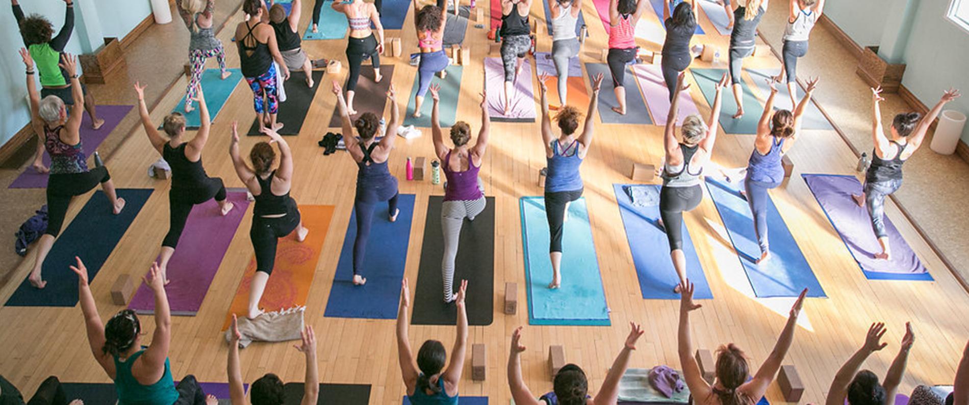 yoga practice in studio